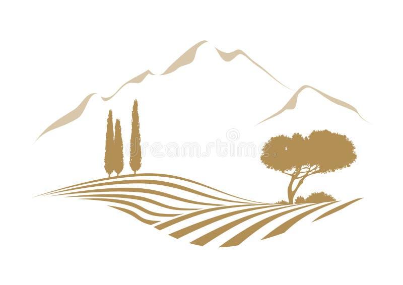 Wiejski śródziemnomorski wektoru krajobraz z górami ilustracja wektor