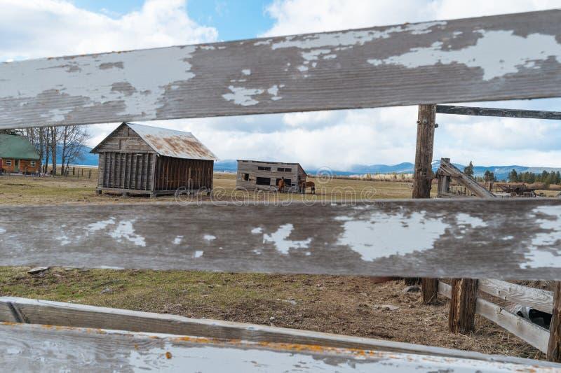 Wiejski gospodarstwa rolnego ogrodzenie, bydła korytko i stajnia, zdjęcia royalty free