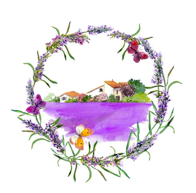 Wiejski gospodarstwo rolne - provencal dom, lawendowy kwiatu pole w Provence akwarela ilustracja wektor