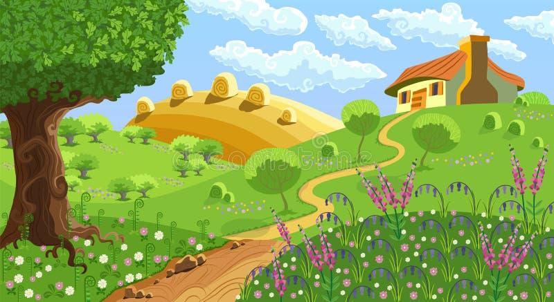 Wiejski krajobraz ilustracja wektor