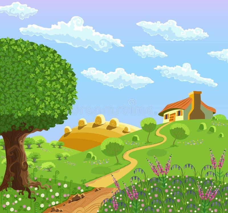 Wiejski krajobraz royalty ilustracja