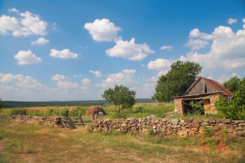 Wiejski krajobraz, domostwo zdjęcia stock