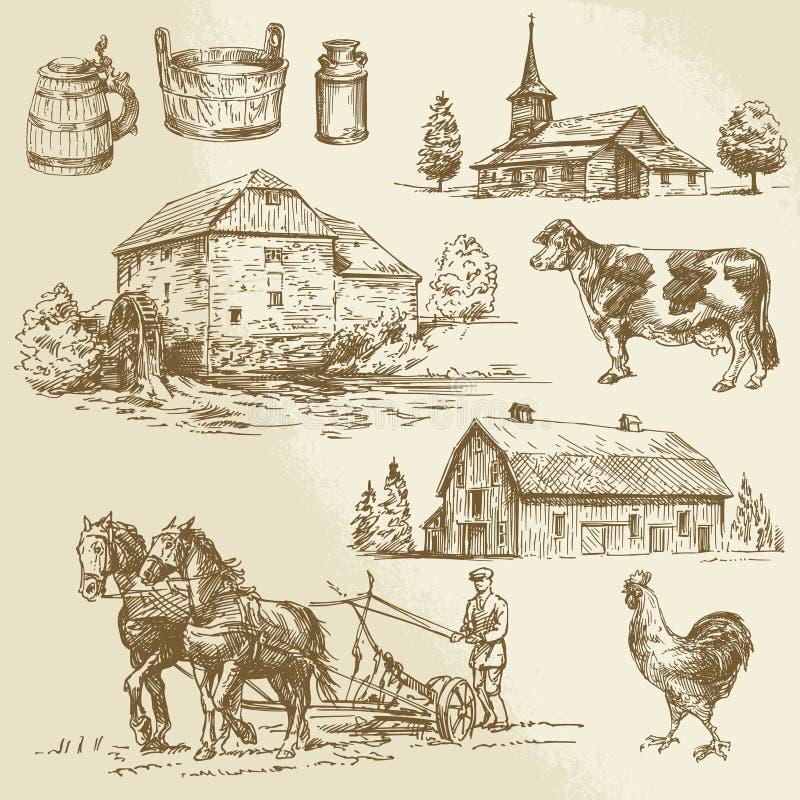 Wiejski krajobraz, gospodarstwo rolne, ręka rysujący watermill ilustracji