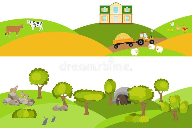 Wiejski krajobraz, lasu krajobraz Krajobraz z zwierzętami i drzewami ilustracja wektor