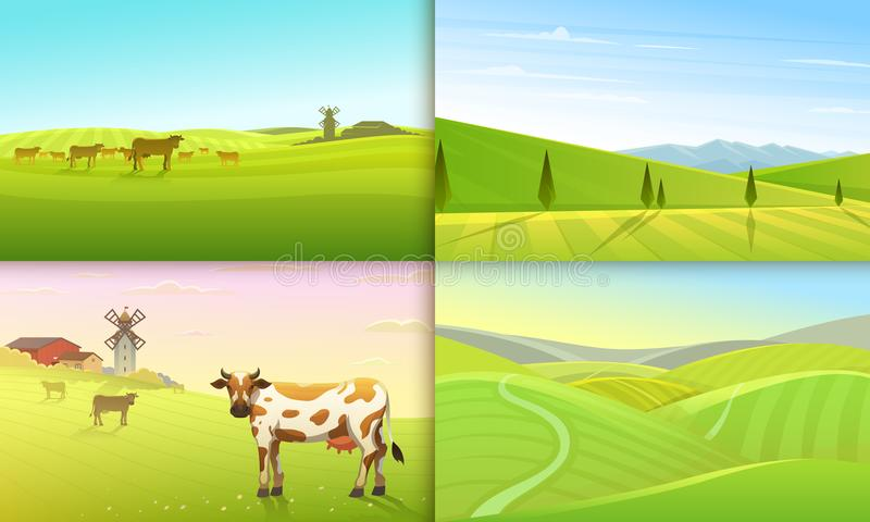 Wiejski krajobraz lub łąka Zielony Rolny plakat lub tło Wieś, retro wioska dla ewidencyjnej grafiki, strony internetowe ilustracji