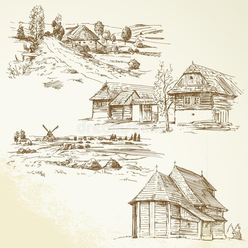 Wiejski krajobraz, rolnictwo ilustracja wektor