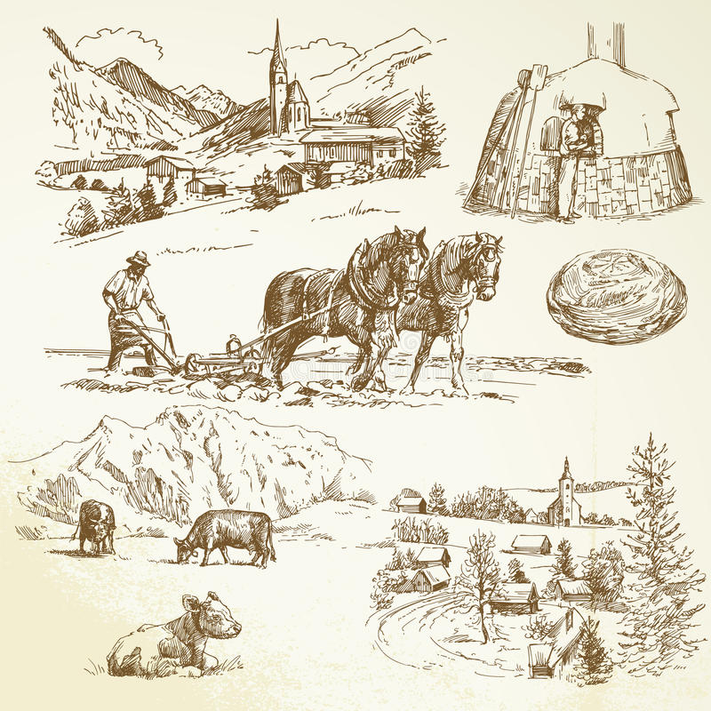 Wiejski krajobraz, rolnictwo target676_0_, royalty ilustracja