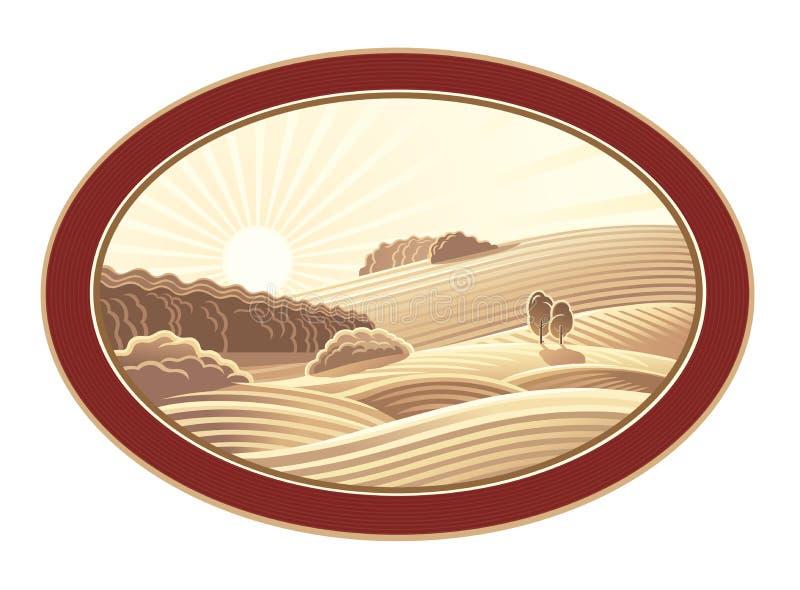 Wiejski krajobraz w ramie ilustracja wektor