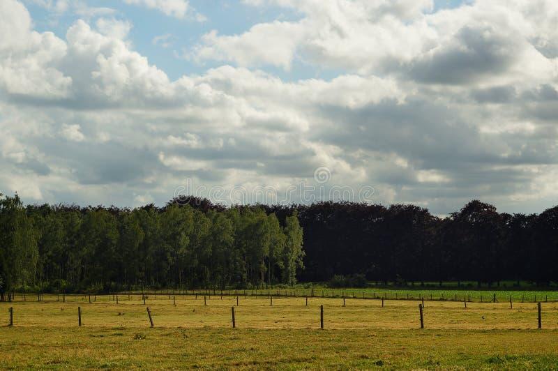 Wiejski krajobraz z chmurnym niebem obrazy stock