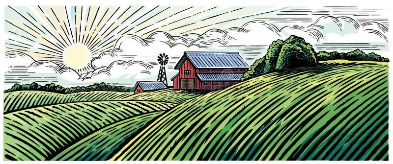 Wiejski krajobraz z gospodarstwem rolnym royalty ilustracja
