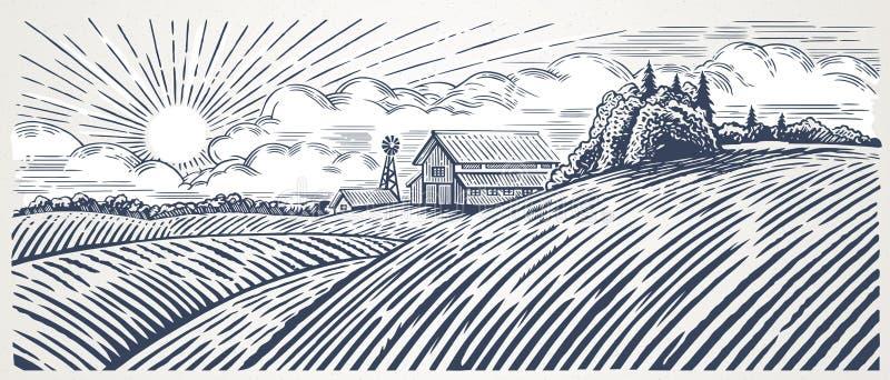 Wiejski krajobraz z gospodarstwem rolnym ilustracji