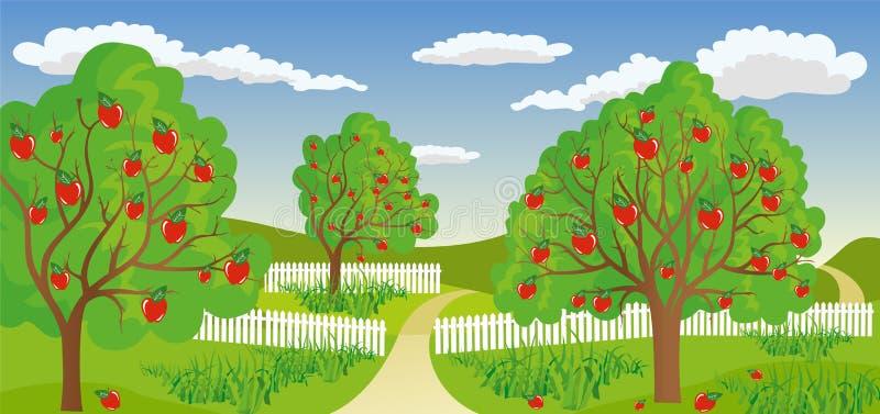 Wiejski krajobraz z jabłonią royalty ilustracja