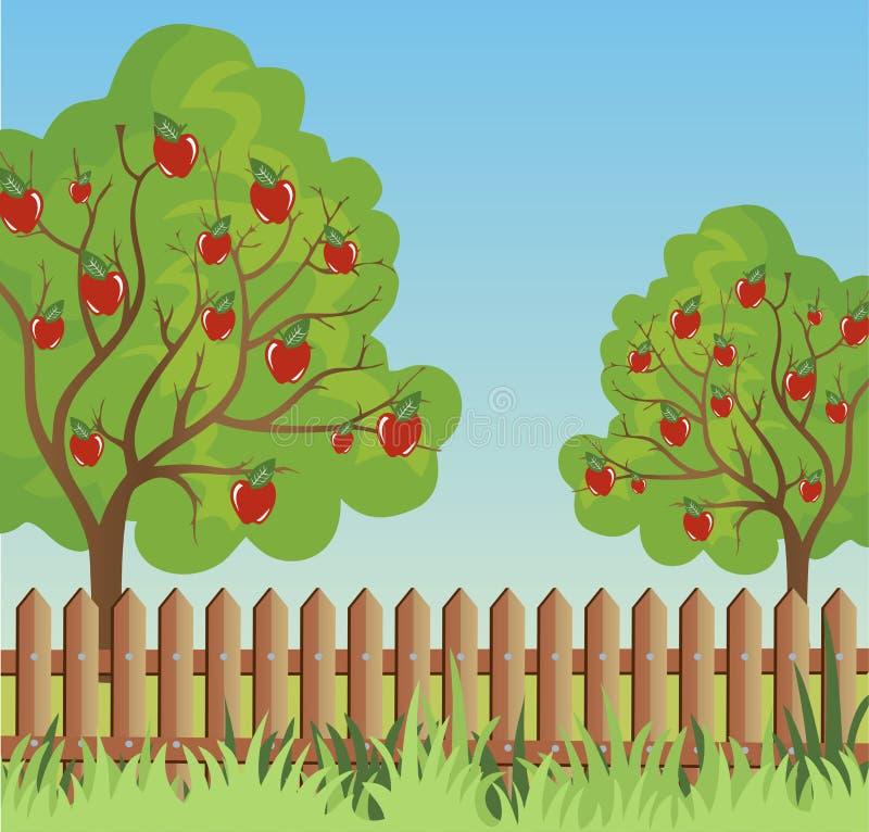 Wiejski krajobraz z jabłonią ilustracja wektor
