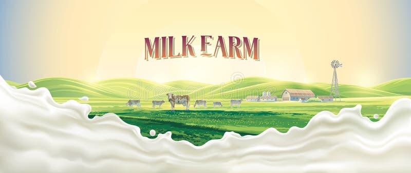 Wiejski krajobraz z krowami i plu?ni?ciem mleko ilustracji