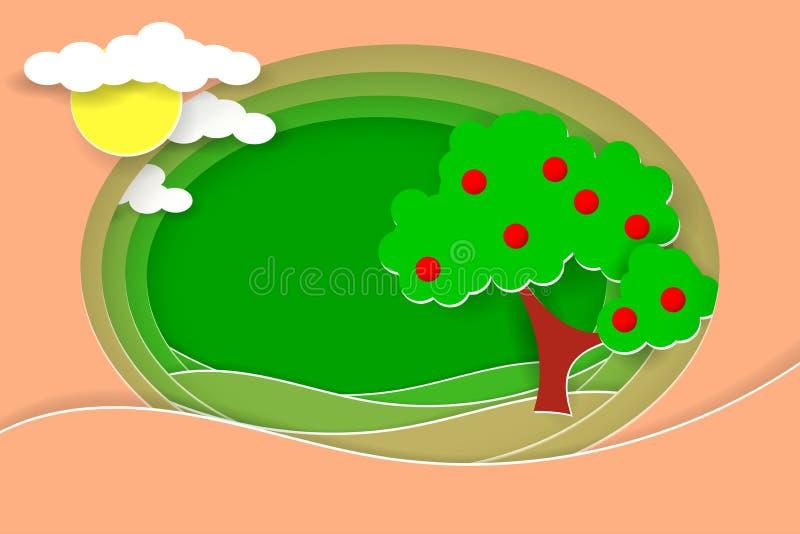 Wiejski krajobraz z owocowym drzewem Papieru cięcie kształtuje jako wieś projekt i warstwy ilustracja wektor