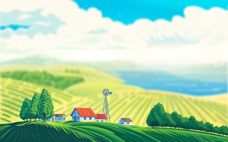 Wiejski krajobraz z pięknym widokiem jezioro lub morze ilustracja wektor