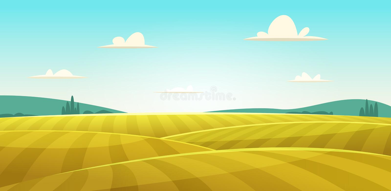 Wiejski krajobraz z polem banatka, wzgórza i doliny w tle, ilustracji