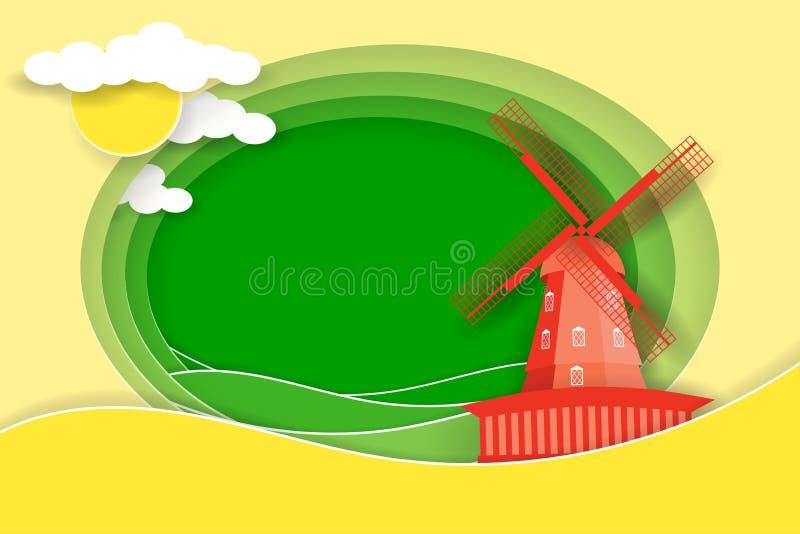Wiejski krajobraz z wiatraczkiem i łąkami Papieru cięcie kształtuje jako wieś projekt i warstwy royalty ilustracja