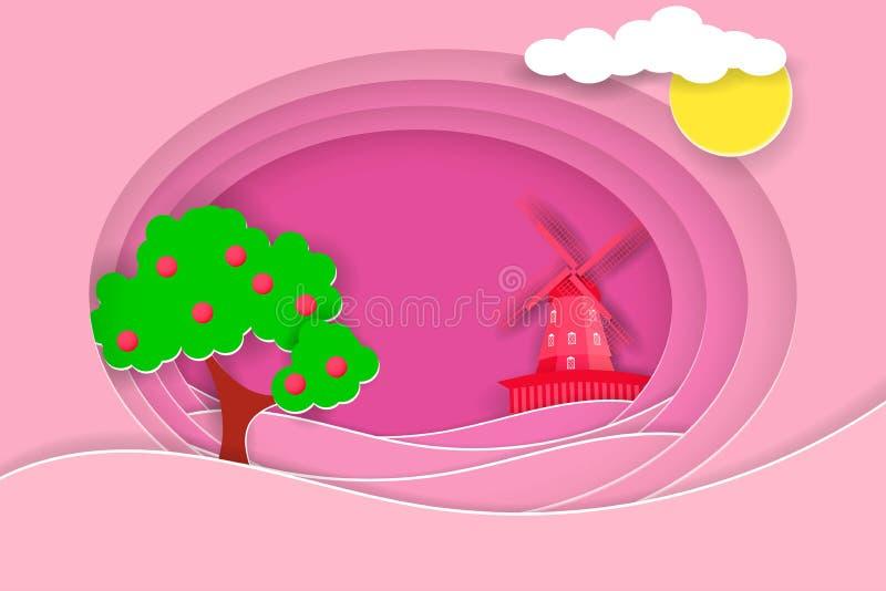 Wiejski krajobraz z wiatraczkiem i owocowym drzewem Papieru cięcie kształtuje jako wieś projekt i warstwy royalty ilustracja