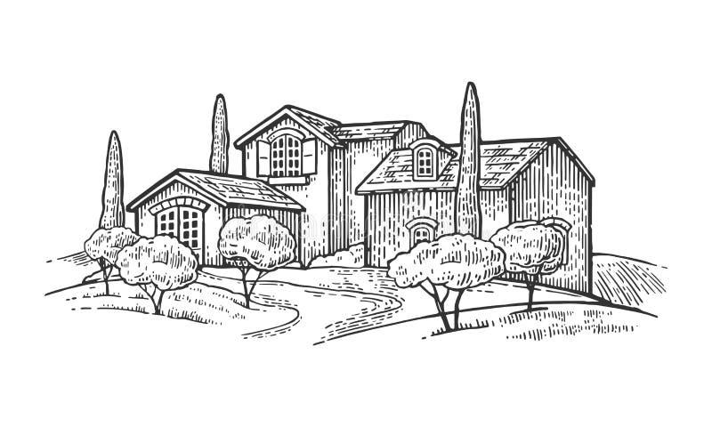 Wiejski krajobraz z willą lub gospodarstwo rolne z polem, drzewem oliwnym i cyprysem, ilustracji