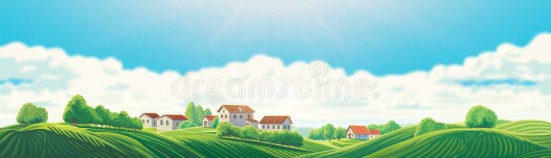 Wiejski krajobraz z wioską i wzgórzami ilustracja wektor