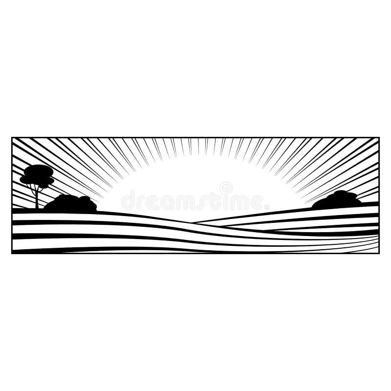 Wiejski krajobraz z wzgórzami i pole monochromatyczną sylwetką odizolowywającą na białym tle royalty ilustracja