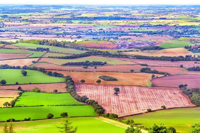 Wiejski krajobraz z zielonymi polami zdjęcia royalty free