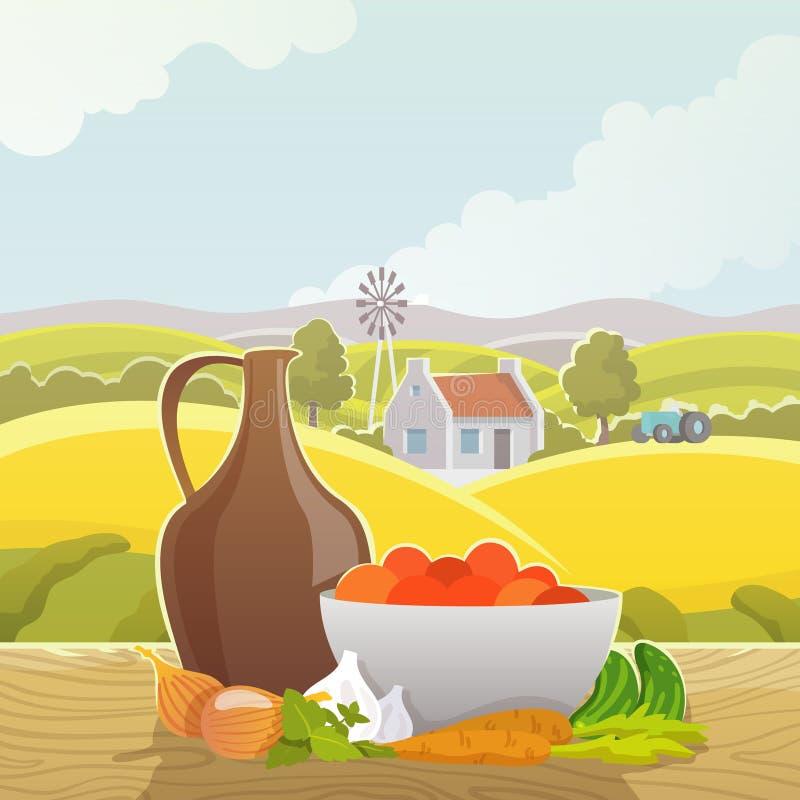 Wiejski krajobrazowy abstrakcjonistyczny ilustracyjny plakat ilustracji