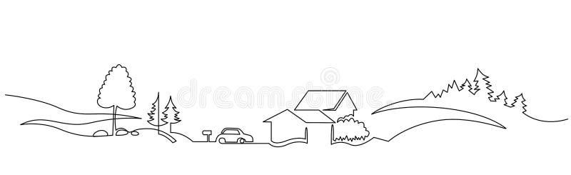 Wiejski krajobrazowy ciągły jeden kreskowy wektorowy rysunek ilustracja wektor