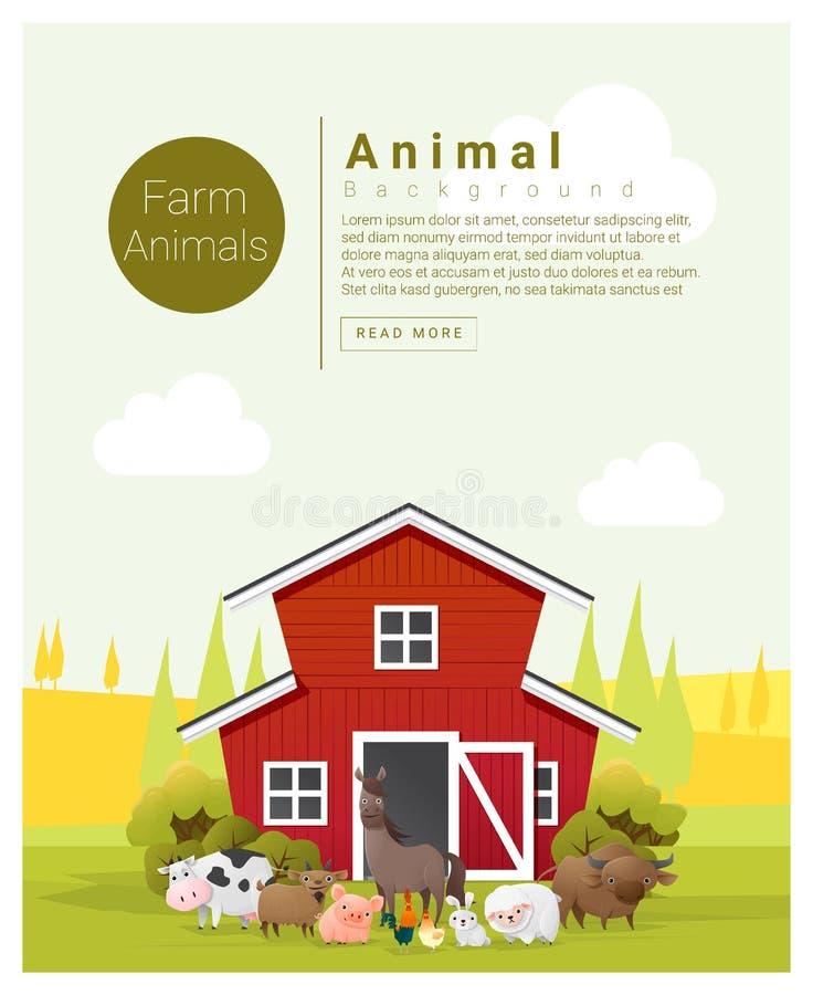 Wiejski krajobrazu i zwierzęta gospodarskie tło ilustracji