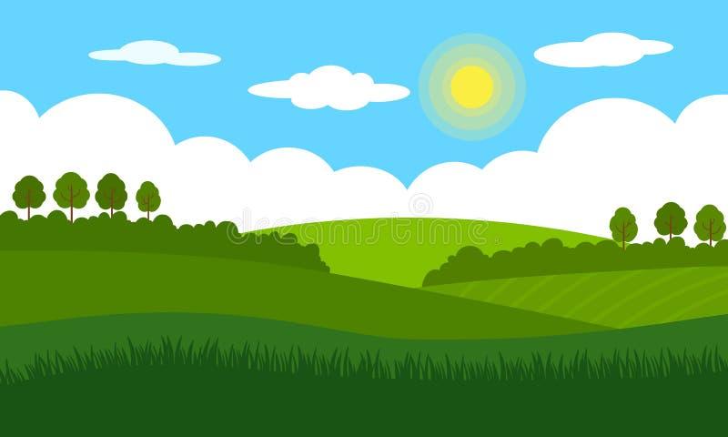 Wiejski krajobrazu krajobraz Zieleni pola, łąki, krzaki i drzewa przeciw niebieskiemu niebu z, chmurami i jaskrawym słońcem ilustracja wektor