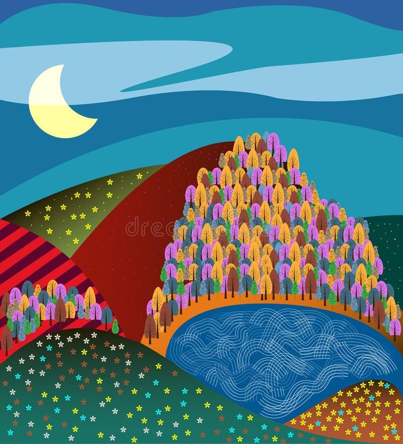 Wiejski kreskówka krajobraz z polami ilustracji