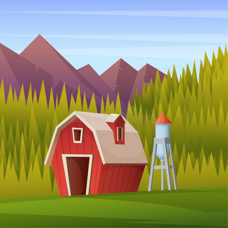 Wiejski lato krajobraz z jatą, wieżą ciśnień i lasem na tle czerwonymi, royalty ilustracja