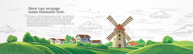 Wiejski lato krajobraz z wiatraczkiem ilustracji