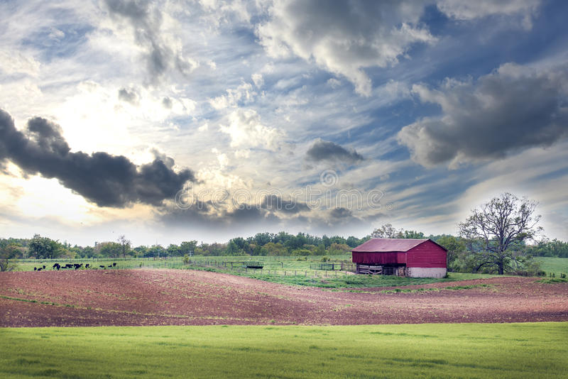 Wiejski Maryland gospodarstwo rolne w wiośnie fotografia stock