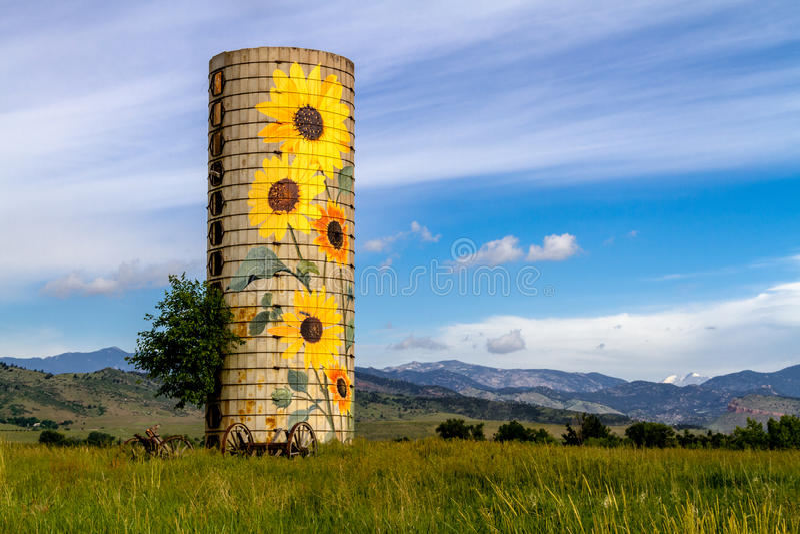 Wiejski rancho słonecznika gospodarstwa rolnego silos obraz royalty free