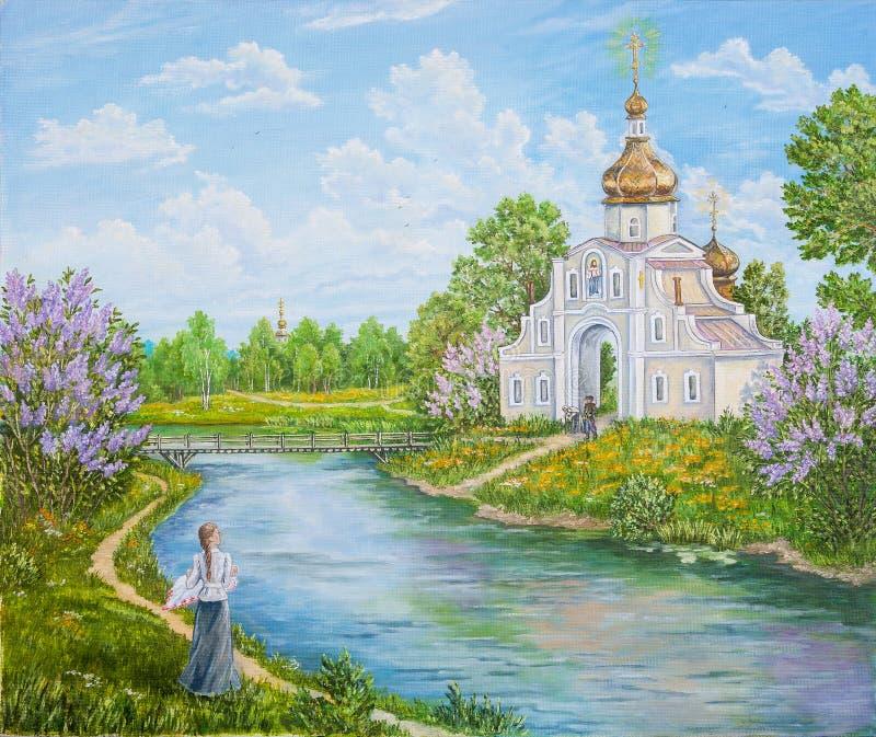 Wiejski retro, stary krajobraz z rzeką, i ortodoksyjny kościół Rosja oryginalny obraz oleju Autora s obraz royalty ilustracja