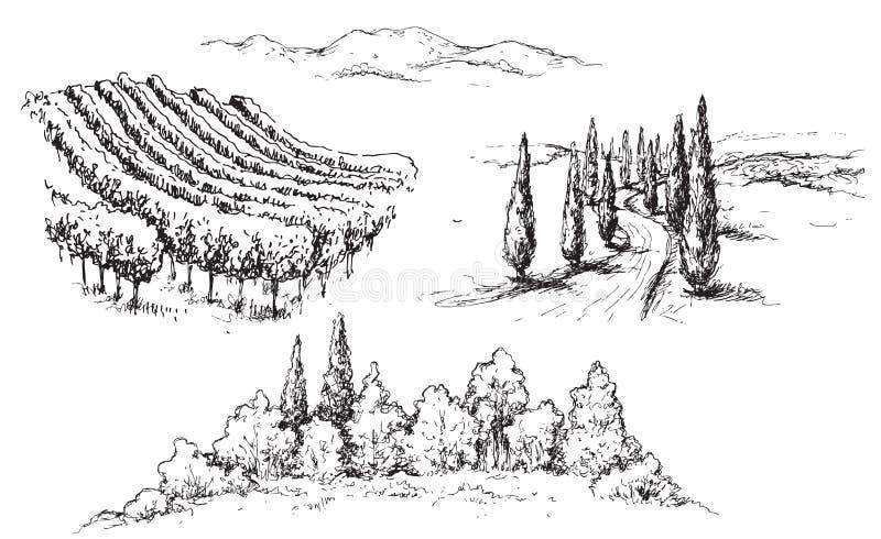 Wiejski scena czerepów nakreślenie ilustracja wektor