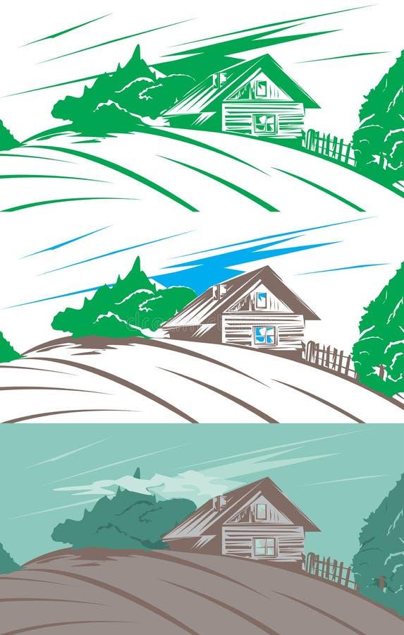 Wiejski szalunku dom na wzgórzu ilustracji
