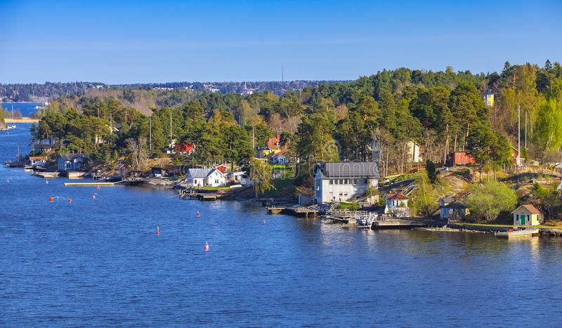 Wiejski szwedzi krajobraz z wioskami zdjęcia stock