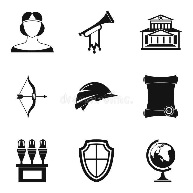 Wiek średni ikony ustawiać, prosty styl ilustracja wektor