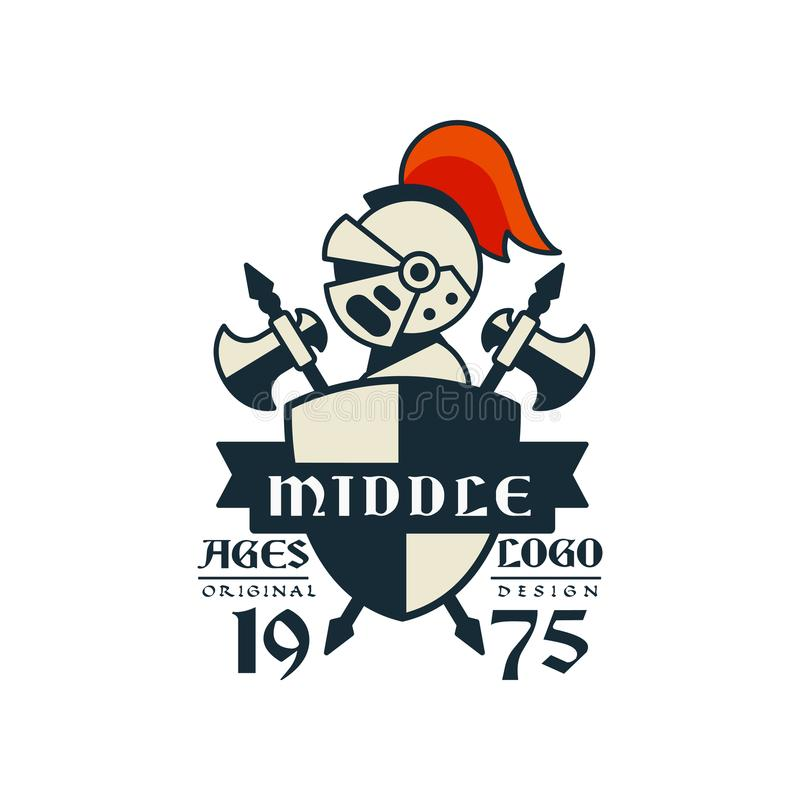 Wieka średniego logo, oryginalny projekt, 1975, rocznik odznaka lub etykietka, heraldyka elementu wektoru ilustracja ilustracji