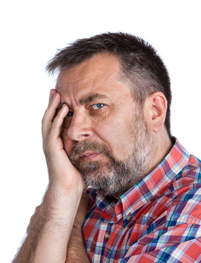 Wieka średniego mężczyzna cierpienie od migreny obrazy stock