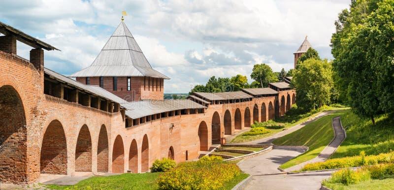 Wieki średni forteczny Kremlin w Nizhniy Novgorod fotografia royalty free