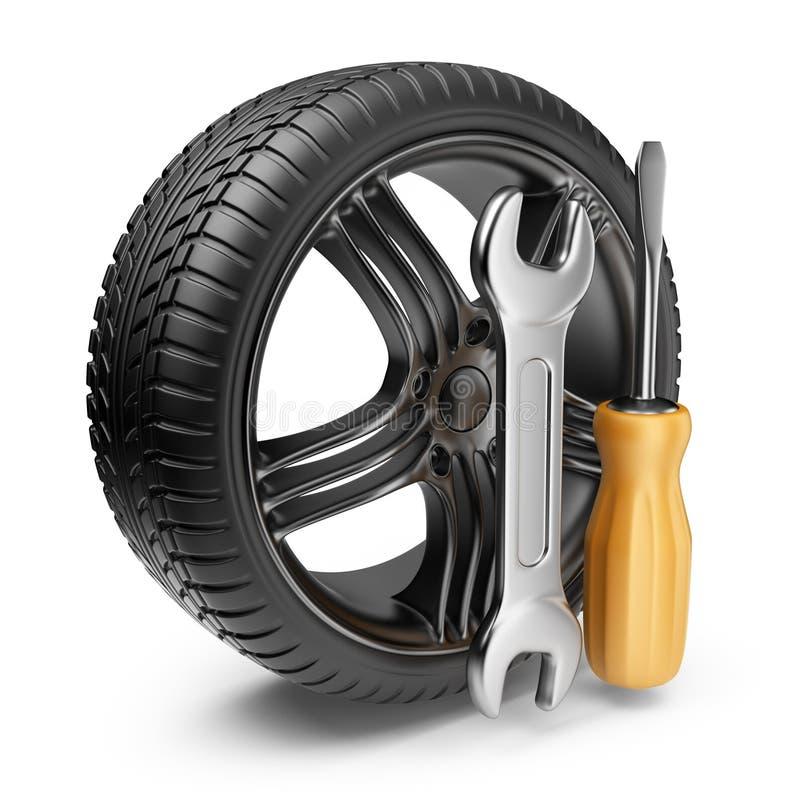 Wiel en hulpmiddelen. De dienst van de auto. 3D Pictogram   stock illustratie