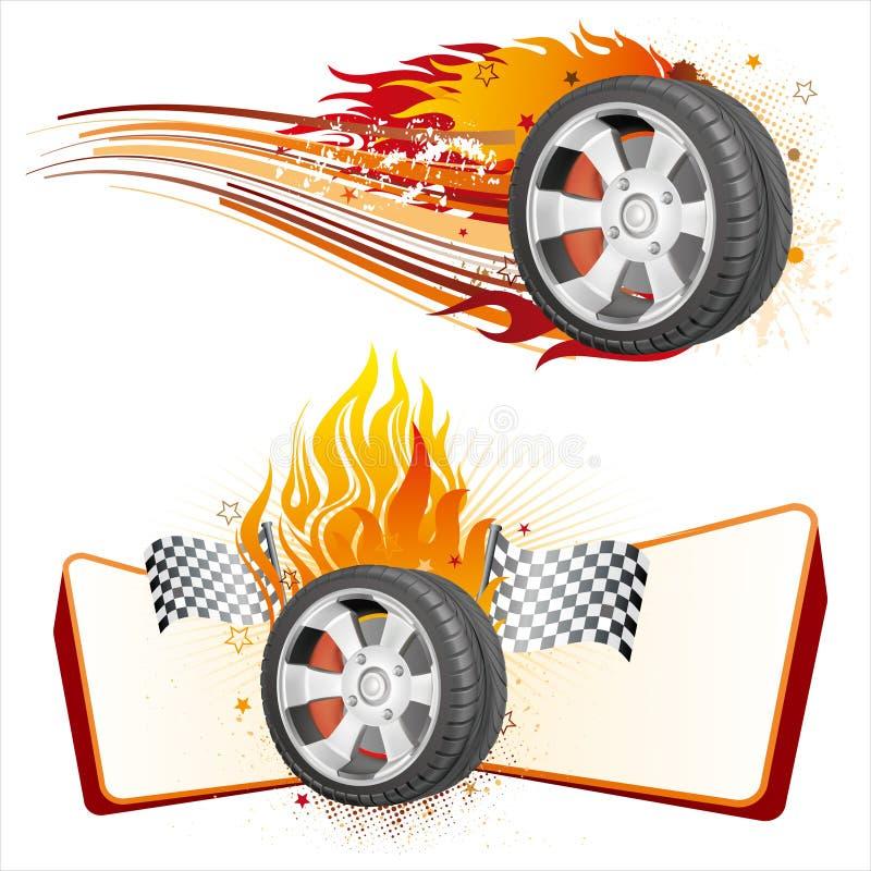 wiel en vlam vector illustratie