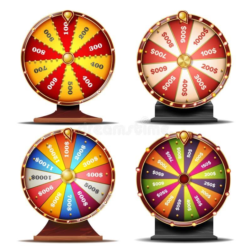Wiel van Fortuin Vastgestelde Vector De vrije tijd van de gokkans De roulette van het winstfortuin Kleurrijk Wiel Spinnend Lucky  stock illustratie