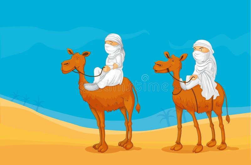 Wielbłąd i arabowie ilustracja wektor