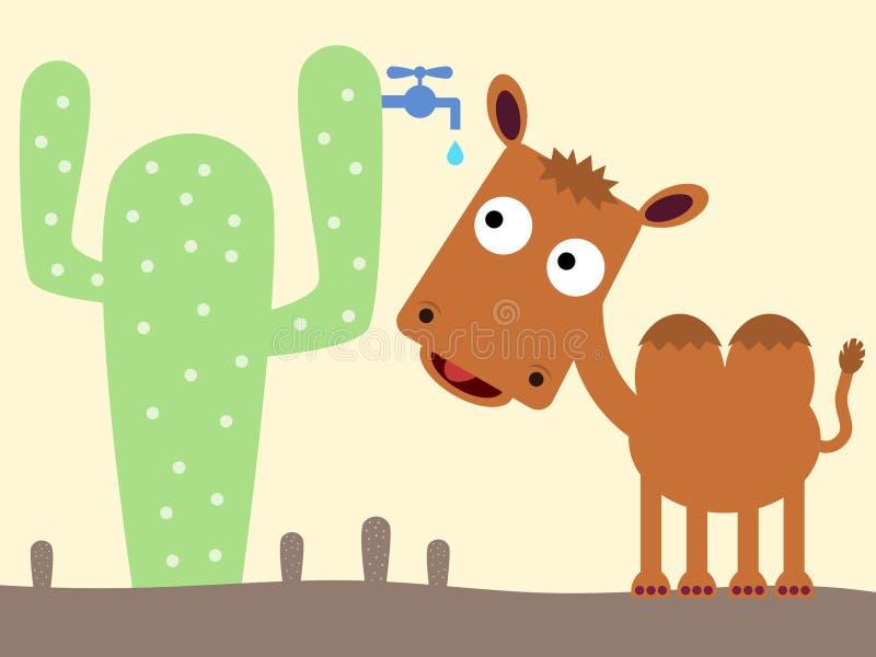 Wielbłąd i kaktus ilustracja wektor