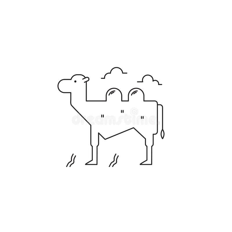 Wielbłąd kreskowa ikona ilustracja wektor